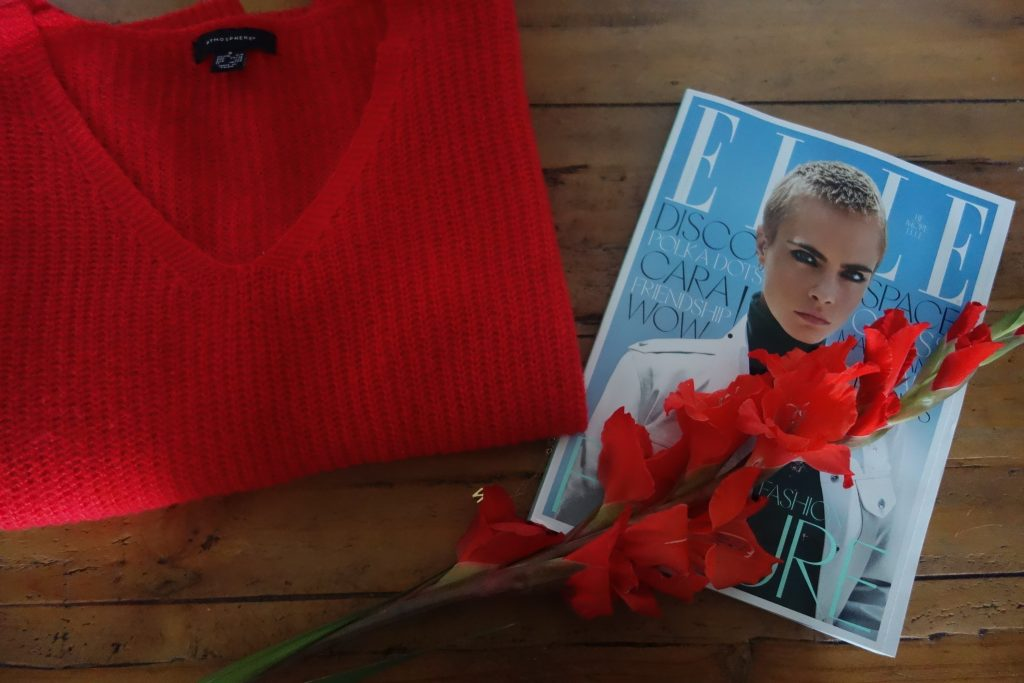 Red Jumper and Elle Magazine
