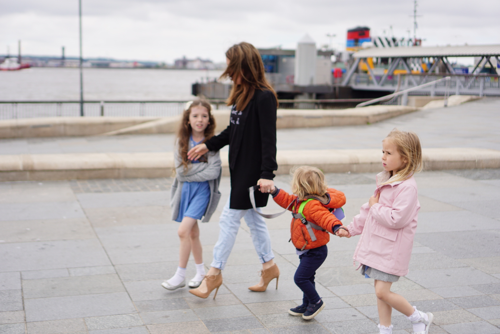 Me and my children walking in the pier head liverpool