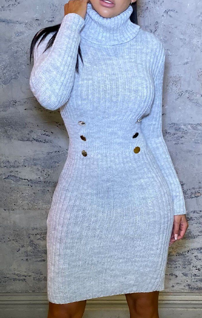 grey knitted roll neck button dress